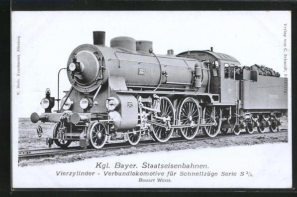 AK Vierzylinder-Verbundlokomotive für Schnellzüge, Kgl. Bayer. Staatseisenbahnen