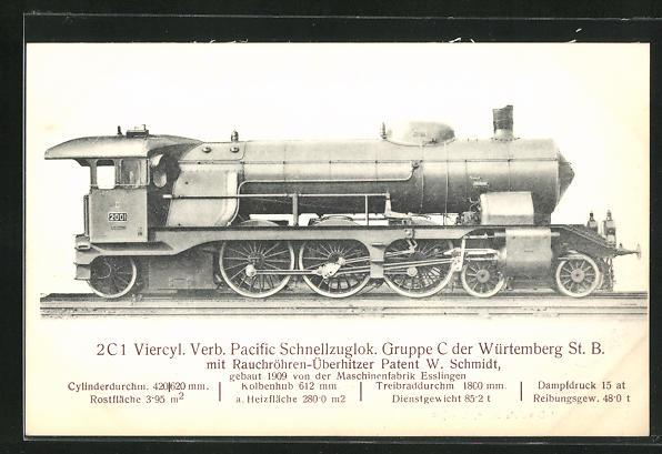 AK Esslingen, Maschinenfabrik, 2C 1 Viercyl. Verb. Pacific Schnellzuglok., gebaut 1909