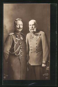 AK Kaiser Franz Josef I. von Österreich und Wilhelm II. in Uniform mit Orden, Zweibund