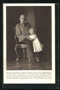 AK Kaiser Franz Josef I. von Österreich m. Erzherzog Franz Josef Otto, Sohn des Erzherzog-Thronfolgers, im Jahre 1914