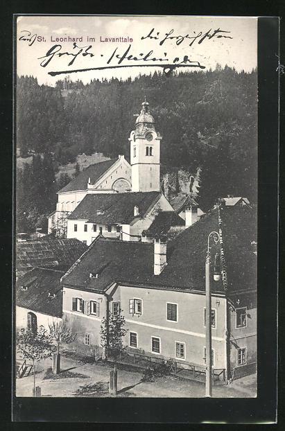 AK St. Leonhard, Blick auf Kirche mit Wald im Lavanttale