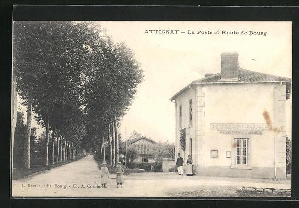AK Attignat, La Poste et Route de Bourg
