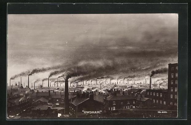 AK Oldham, Ortsansicht mit Fabriken