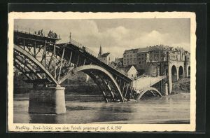 AK Marburg, Drau-Brücke, gesprengt 1941