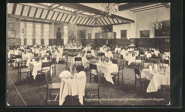 AK Cliftonville-Margate, Queen`s Highcliffe Hotel, Tudor Dining Hall, Innenansicht
