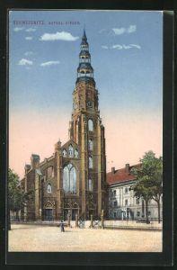 AK Schweidnitz, Blick zur Kathol. Kirche