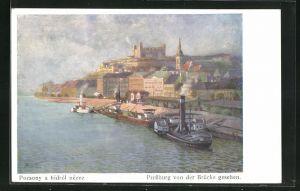 AK Pressburg, Ortsansicht von der Brücke aus gesehen