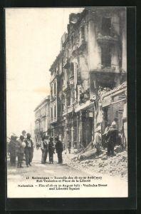 AK Salonique, Incendie de Aout 1917, Rue Venizelos et Place de la Liberté
