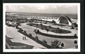AK Swinemünde, Konzertplatz am Strand aus der Vogelschau