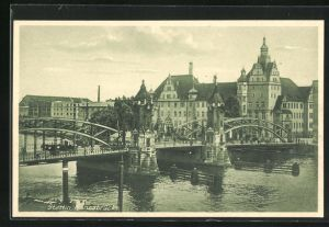 AK Stettin, Ortspartie mit Hansabrücke