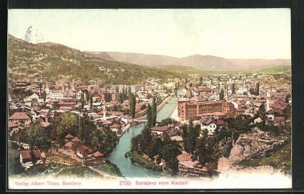 AK Sarajewo, Ortsansicht vom Kastell aus gesehen