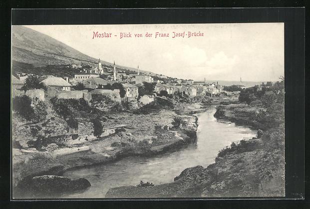AK Mostar, Blick von der Franz Josef-Brücke
