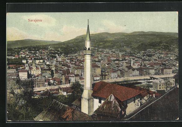 AK Sarajewo, Gesamtansicht mit Turm