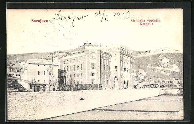 AK Sarajewo, Gradska vjecnica, Ortspartie mit Rathaus
