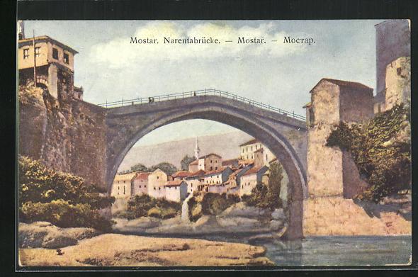 AK Mostar, Blick zur Narentabrücke