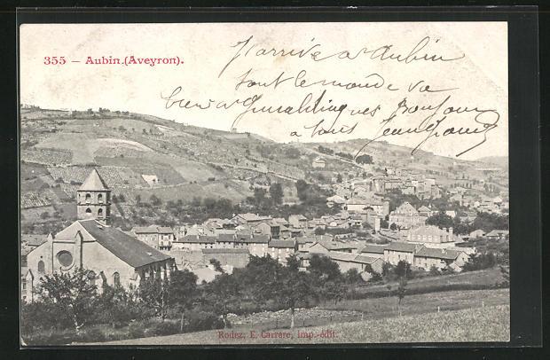 AK Aubin, Gesamtansicht mit Kirche vom Berg gesehen