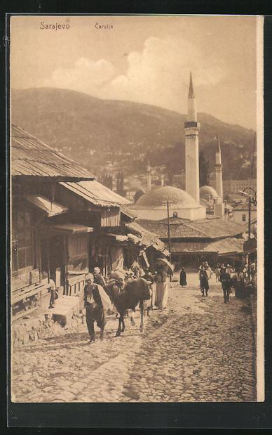AK Sarajewo, Carsija, Ortsansicht mit Türmen