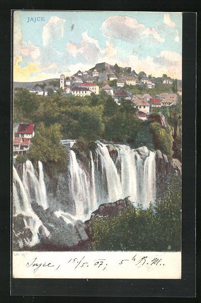AK Jajce, Ortsansicht mit Wasserfall