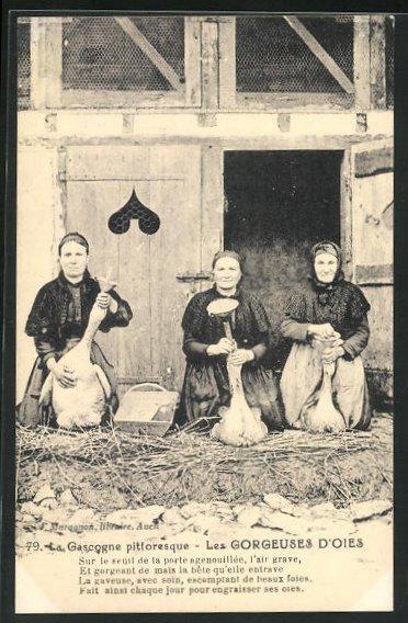 AK Gascogne, Les Gorgeuses d`Oies, Bäuerinnen beim Gänsestopfen, Tierschutz