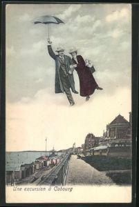 AK Cabourg, Fliegende Menschen über der Strandpromenade