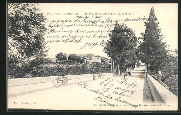 AK Mirabel-aux-Baronnies, Eselgespann auf der pont de la Gaude