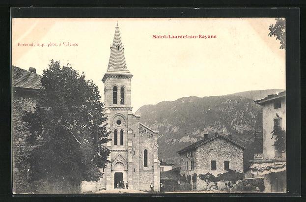AK Saint-Laurent-en-Royans, Ortspartie mit Kirche