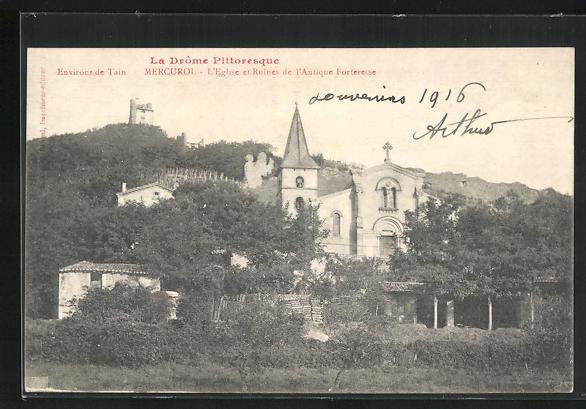 AK Mercurol, l'Eglise et ruines de l'Antique Forteresse