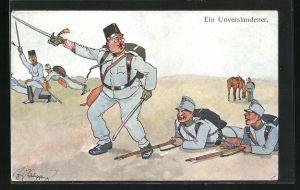 Künstler-AK Fritz Schönpflug: Ein Unverstandener, Soldaten bei der Übung