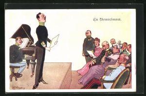 Künstler-AK Fritz Schönpflug: Ein Ohrenschmaus, Soldat beim Gesangsvortrag mit Klavier