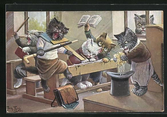 Künstler-AK Arthur Thiele: Chaotische Zustände in der Katzenschule