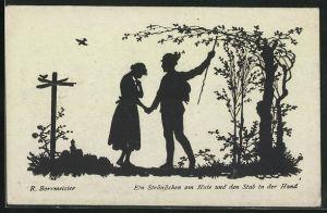 Künstler-AK R. Borrmeister: Ein Sträusschen am Hute und den Stab in der Hand