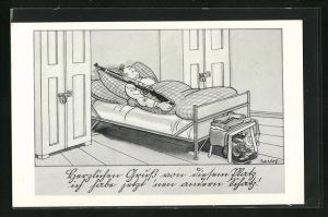 Künstler-AK Ferdinand Barlog: Rekrut schläft mit der Waffe im Bett