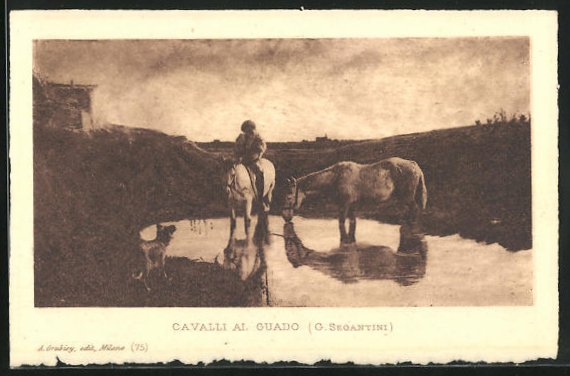 Künstler-AK Giovanni Segantini: Reiter tränkt Pferde am Fluss