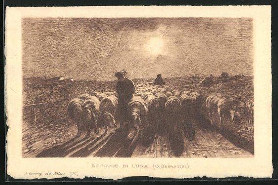 Künstler-AK Giovanni Segantini: Schäfer mit Herde im Sonnenaufgang