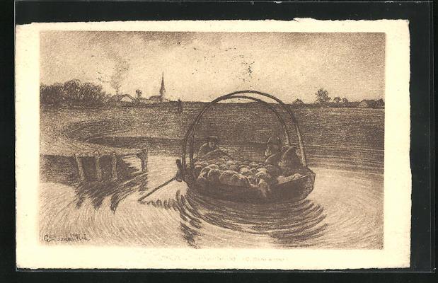 Künstler-AK Giovanni Segantini: Hirte setzt mit Schafherde in der Fähre über den Fluss