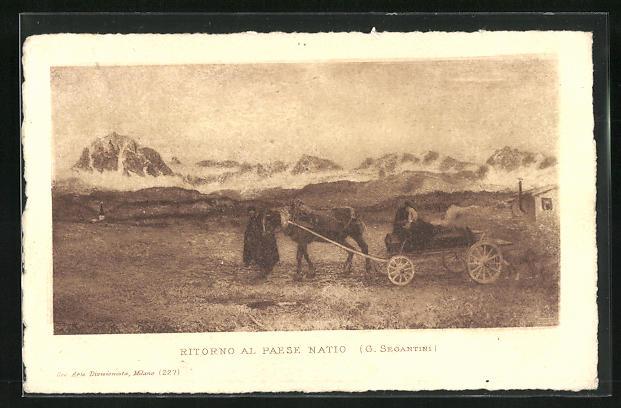 Künstler-AK Giovanni Segantini: Mann mit Pferdegespann auf einem Feld