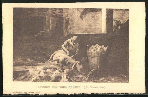 Künstler-AK Giovanni Segantini: Hirte scherrt ein Schaf