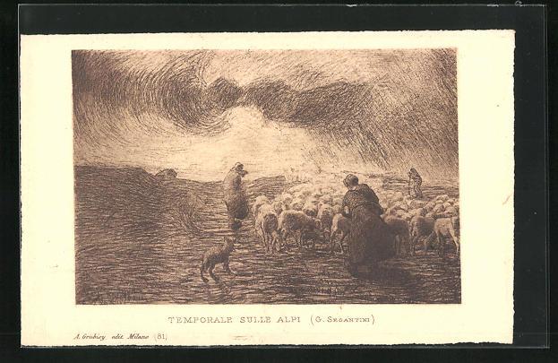 Künstler-AK Giovanni Segantini: Schäfer treibt die Herde auf die Alpe