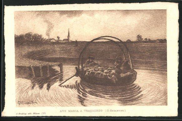 Künstler-AK Giovanni Segantini: Schäfer setzt mit Herde auf der Fähre über den Fluss