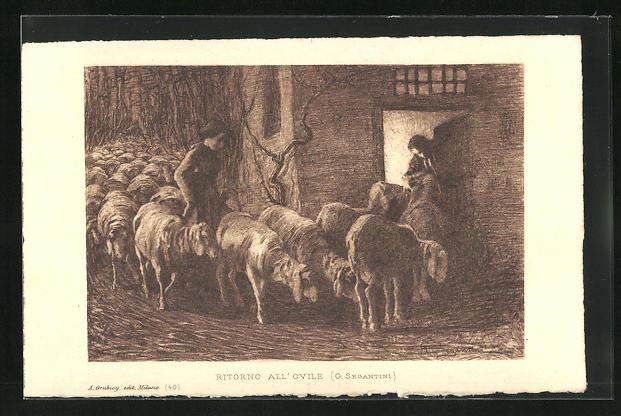 Künstler-AK Giovanni Segantini: Bäuerin treibt die Schafherde in den Stall