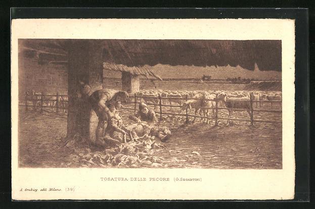 Künstler-AK Giovanni Segantini: Schafschur auf dem Bauernhof