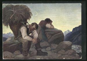 Künstler-AK Thomas Walch: Abendläuten, Heimkehrende Bauern beim Gebet