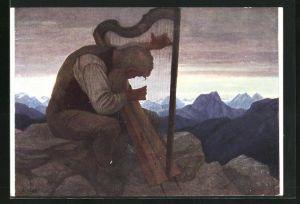 Künstler-AK Thomas Walch: Alpensymphonie, Süd-Tiroler an der Harfe