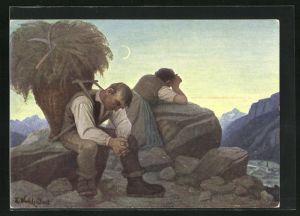 Künstler-AK Thomas Walch: Gebet beim Abendläuten