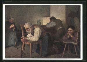 Künstler-AK Thomas Walch: Süd-Tiroler beim Abendgebet