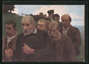 Künstler-AK Thomas Walch: Bittgang, Religiöse Prozession