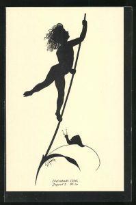Künstler-AK Diefenbach: Schattenbild Jugend, kleines Kind mit wehenden Haaren klettert an Halm mit Schnecke