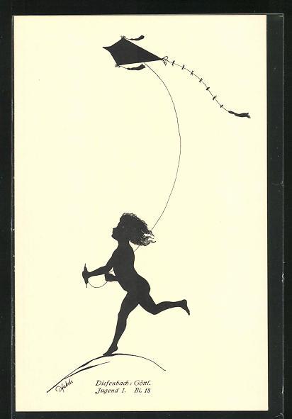 Künstler-AK Diefenbach: Schattenbild Jugend, Kind mit Drachen