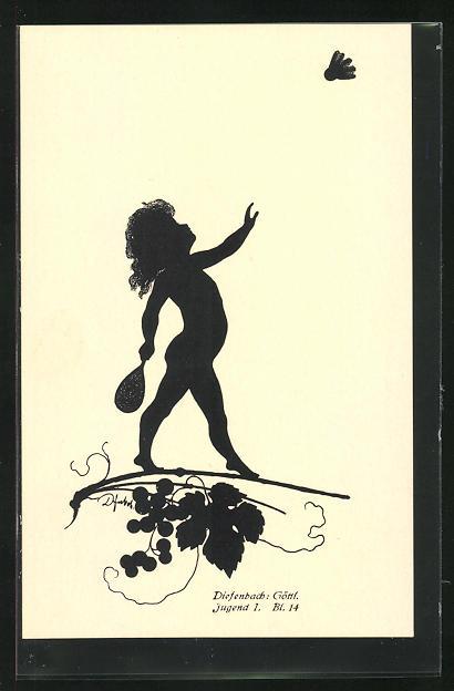 Künstler-AK Diefenbach: Schattenbild Göttl. Jugend, Junge spiel Federball