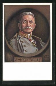 Künstler-AK Maxim Trübe: Heerführer von Hötzendorf in Uniformmantel mit Orden